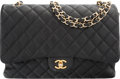 "Luxury Accessories:Bags, Chanel Black Quilted Caviar Leather Jumbo Single Flap Bag with GoldHardware. Very Good Condition. 13"" Width x 8.5"" He..."