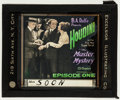 "Movie Posters:Serial, The Master Mystery (Octagon, 1920). Glass Slide (3.25"" X 4"")Chapter One -- ""The Living Death."" Serial.. ..."