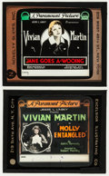 "Movie Posters:Drama, Jane Goes A' Wooing & Other Lot (Paramount, 1919). Glass Slides(2) (3.25"" X 4""). Drama.. ... (Total: 2 Items)"
