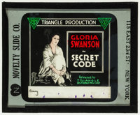 "Secret Code (Triangle, 1918). Glass Slide Without Paper Holder (3.25"" X 4""). Drama"