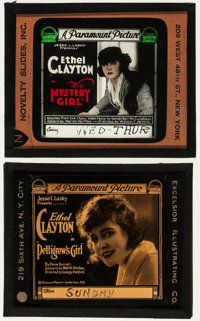 """The Mystery Girl & Others Lot (Paramount, 1918). Glass Slides (5) (2.5"""" X 3"""" & 3.25"""" X 4"""")..."""