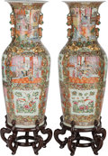 Asian, A Large Pair of Chinese Famille Rose Enameled Porcelain Floor Vaseswith Stands. 43 inches high (109.2 cm) (without stands)... (Total:4 Items)