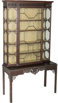 An English George II-Style Carved Mahogany Cabinet in the Manner of Thomas Chippendale, 19th century 89-3/4 h x 50