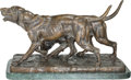 Fine Art - Sculpture, European:Antique (Pre 1900), Isidore Jules Bonheur (French, 1827-1901). A Pair of Hounds.Bronze with brown patina. 17 inches (43.2 cm) high on a 1-1...