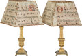 Decorative Arts, French:Other , A Pair of Louis XVI-Style Gilt Bronze Lamps with Parchment Shades,19th century and later. 34-1/2 inches high (87.6 cm) (ove...(Total: 4 Items)