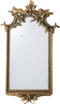 Furniture : French, A Louis XV Painted and Partial Gilt Framed Girandole Hall Mirror,late 18th century. 51 inches high x 30-1/4 inches wide (12...