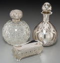 Silver Holloware, British:Holloware, A La Pierre Glass and Silver Overlay Perfume Bottle, Horton &Allday Victorian Silver-Mounted and Cut-Glass Perfume Bottle, an...(Total: 3 Items)