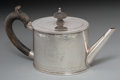 Silver Holloware, British:Holloware, A Henry Hallsworth George III Silver Teapot, 1777. Marks: (lionpassant), (crowned leopard), b, HH. 4-7/8 h x 9-5/8 w x ...