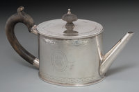 A Henry Hallsworth George III Silver Teapot, 1777 Marks: (lion passant), (crowned leopard), b, HH 4-