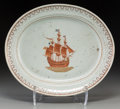 Asian:China Trade, A Chinese Export Porcelain Partial Gilt Platter with Ship Motif,circa 1790. 14-1/4 inches high x 16-3/4 inches wide (36.2 x...