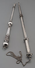 Silver Holloware, Continental, Two Russian Silver Yad Torah Pointers, late 19th century. Marks:84, (star); 84, (effaced city mark). 12-1/4 inches long (31...(Total: 2 Items)