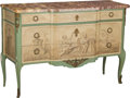 Furniture : French, A Louis XVI-Style Paint-Decorated Commode with Marble Top, 20thcentury. 36-1/4 h x 54-1/2 w x 21 d inches (92.1 x 138.4 x 5...