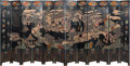 Asian:Chinese, A Large Chinese Lacquered and Giltwood Folding Screen, QingDynasty. 107-3/4 inches high x 234 inches wide (273.7 x 594.4 cm...