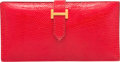 "Luxury Accessories:Accessories, Hermes Rouge Vif Nilo Lizard Bearn Wallet with Gold Hardware. BSquare, 1998. Very Good Condition. 7"" Width x3.5""..."