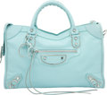"""Luxury Accessories:Bags, Balenciaga Maldives Blue Goatskin Leather Silver City Bag.Excellent Condition. 15"""" Width x 9.5"""" Height x 5.5""""Depth..."""