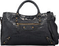 "Luxury Accessories:Bags, Balenciaga Matte Black Crocodile Classic City Bag. Good to VeryGood Condition. 15"" Width x 9.5"" Height x 5.5"" Depth..."