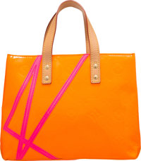 Louis Vuitton Limited Edition Orange Monogram Vernis Leather Reade PM Tote Bag by Robert Wilson Very Good to Ex