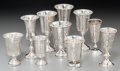 Silver Holloware, Continental:Holloware, Ten Russian Silver Kiddish Cups, 20th century. Marks: (various). 4inches high (10.2 cm) (tallest). 10.39 troy ounces. ... (Total: 10Items)