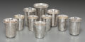 Silver Holloware, Continental, Nine Russian Silver Kiddish Cups, late 19th-early20th century.Marks: (various). 2-1/4 inches high (5.7 cm) (tallest). 6.83 ...(Total: 9 Items)