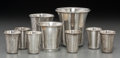 Silver Holloware, Continental:Holloware, Nine Russian Silver Kiddish Cups, late 19th-20th centuries. Marks:(various). 3 inches high (7.6 cm) (tallest). 7.84 troy ou...(Total: 9 Items)