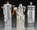 Decorative Arts, American, Three American Silver-Plated and Chromed Cocktail Shakers, mid-20thcentury. Marks: (various). 12 inches high (30.5 cm) (tal... (Total:3 Items)