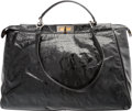 "Luxury Accessories:Bags, Fendi Black Distressed Patent Leather Peekaboo Bag. Very GoodCondition. 18"" Width x 11"" Height x 6.5"" Depth. ..."
