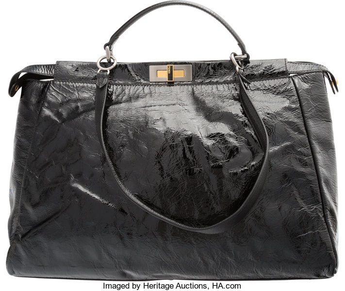 7af93e2ffdb Luxury Accessories Bags, Fendi Black Distressed Patent Leather Peekaboo Bag.  Very GoodCondition.