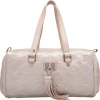 """Louis Vuitton Limited Edition Metallic Silver Monogram Shimmer Leather Comete Bag Excellent Condition 12"""" Wi"""