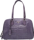 "Luxury Accessories:Bags, Prada Purple Crocodile Embossed Leather Tote Bag. Very GoodCondition. 12.5"" Width x 8"" Height x 4"" Depth. ..."