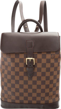"""Louis Vuitton Damier Ebene Canvas Soho Backpack Bag Excellent Condition 9.5"""" Width x 12"""" Height x"""