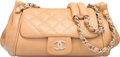 """Luxury Accessories:Bags, Chanel Beige Quilted Lambskin Leather Shoulder Bag. Very GoodCondition. 9"""" Width x 6"""" Height x 6"""" Depth. ..."""