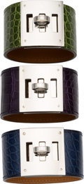 Luxury Accessories:Accessories, Hermes Set of Three; Matte Blue de Malte, Shiny Amethyst &Shiny Pelouse Alligator Kelly Dog PM Bracelets. Very GoodCondi... (Total: 3 )