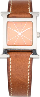 """Hermes Stainless Steel H Hour PM Watch with Fauve Barenia Leather Band Good Condition 0.5"""" Width"""