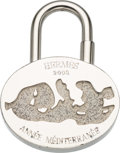 "Luxury Accessories:Accessories, Hermes Palladium 2003 ""Annee Mediterranee"" Cadena Lock Charm.Very Good Condition. 1"" Width x 1.5"" Length. ..."