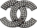 "Luxury Accessories:Accessories, Chanel Black Brass & Silver Crystal CC Brooch. Very Good Condition. 2"" Width x 1.5"" Length. ..."