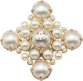 "Luxury Accessories:Accessories, Chanel Gold & White Glass Pearl Brooch. ExcellentCondition. 3"" Width x 3"" Length. ..."