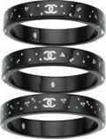 "Luxury Accessories:Accessories, Chanel Set of Three; Black Lucite & Silver Crystal CCBracelets. Excellent Condition. 0.5"" Width x 7""Length. ... (Total: 3 Items)"
