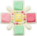 "Luxury Accessories:Accessories, Chanel White, Green & Pink Enamel Brooch. Very GoodCondition. 2.5"" Width x 2.5"" Length. ..."