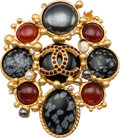 "Luxury Accessories:Accessories, Chanel Black, Red & Silver Glass and Gold Brooch. ExcellentCondition. 2"" Width x 2.5"" Length. ..."