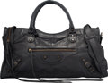 "Luxury Accessories:Bags, Balenciaga Black Distressed Lambskin Leather Classic City Bag.Very Good to Excellent Condition. 17"" Width x 9""Height..."