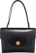 """Luxury Accessories:Bags, Hermes Black Calf Box Leather Engrenage Bag with Gold Hardware. Circa 1960's. Good to Very Good Condition. 9.5"""" Width x 7...."""