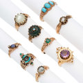 Estate Jewelry:Rings, Victorian Diamond, Multi-Stone, Gold Rings . ... (Total: 9 Items)