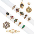 Estate Jewelry:Lots, Victorian Diamond, Multi-Stone, Seed Pearl, Glass, Gold, Yellow Metal Jewelry . ... (Total: 15 Items)