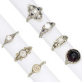 Estate Jewelry:Rings, Art Deco Diamond, Garnet, Synthetic Sapphire, White Gold Rings . ... (Total: 7 Items)