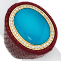 Estate Jewelry:Rings, Blue Stone, Diamond, Gold, Leather Ring. ...