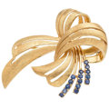 Estate Jewelry:Brooches - Pins, Sapphire, Gold Brooch . ...