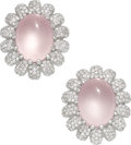 Estate Jewelry:Earrings, Rose Quartz, Diamond, White Gold Earrings. ...