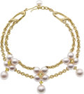 Estate Jewelry:Necklaces, South Sea Cultured Pearl, Colored Diamond, Gold Necklace, Assael. ...