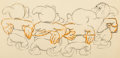Animation Art:Production Drawing, Snow White and the Seven Dwarfs Four Dwarfs AnimationDrawing (Walt Disney, 1937).. ...