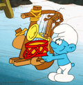 Animation Art:Production Cel, The Smurfs Harmony Smurf Production Cel (Hanna-Barbera, c.1980s)....